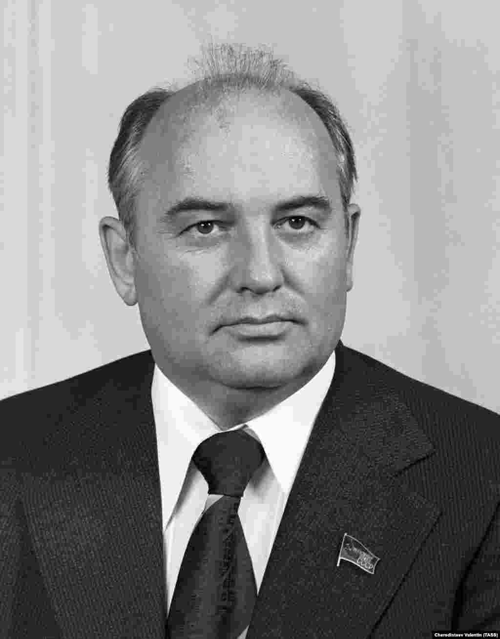 Most photographs from Gorbachev's early years are from angles that conceal his birthmark, but in official Kremlin releases, like this 1978 portrait of the future Soviet leader, some masterful airbushing was employed.