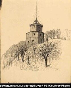 Я. Драздовіч. Кутняя вежа на Замкавай гары ў Вільні. Выгляд ад Бэрнардзінскага саду. 1930 год