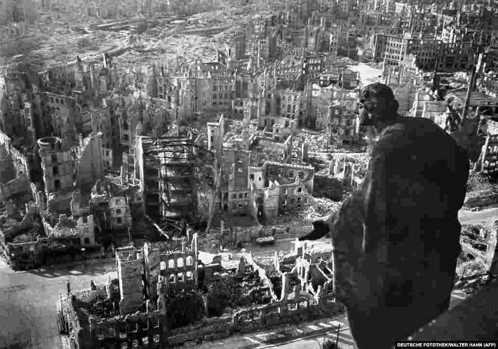 """The skeletal remains of the city center after the bombing. A 9-year-old German boy described being in the street during the second raid and seeing """"Fire, only fire everywhere we looked.... It was beyond belief, worse than the most fearful nightmare."""""""