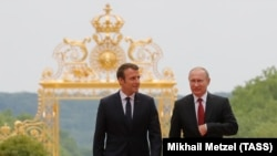Франция. Эммануэль Макрон и Владимир Путин. Версаль. 29.05.2017