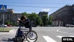 Акция в поддержку прав инвалидов на улицах Москвы.