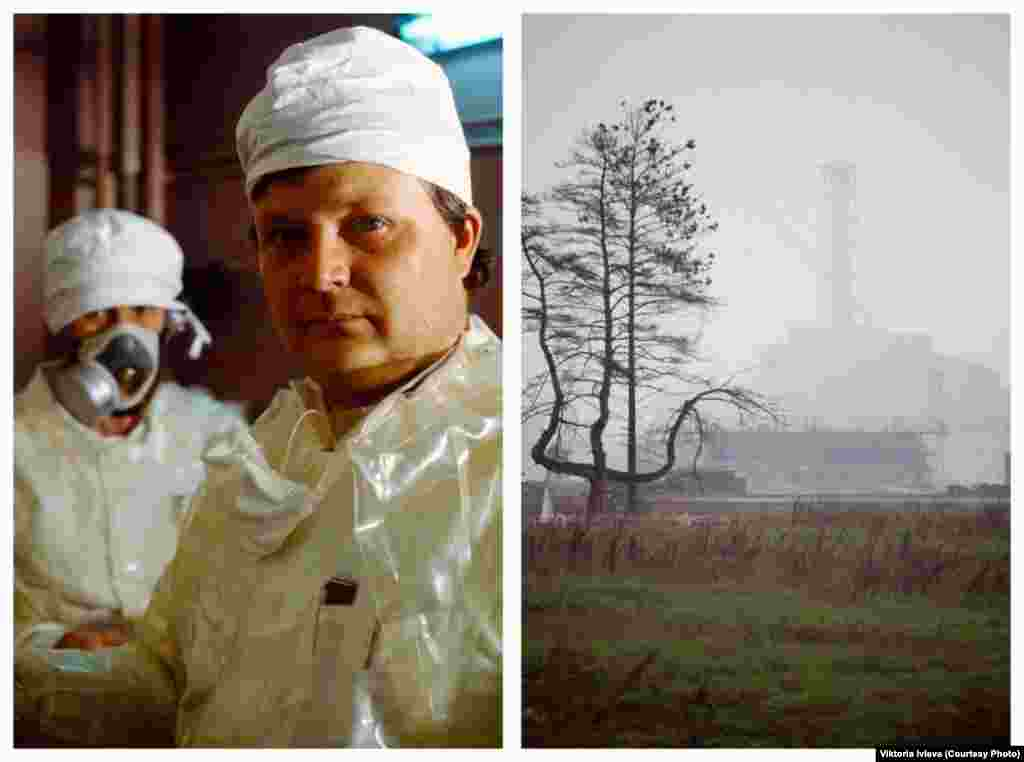 "Scientists in special protective clothing (left) and a mutated pine tree against the backdrop of the nuclear plant. ""I was with people who knew very well how and where to go to minimize the danger,"" Ivleva says. ""It was infinitely interesting, since no journalists had been given access before."""