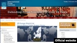 Главная страница веб-сайта прессозащитной организации International Press Institute.