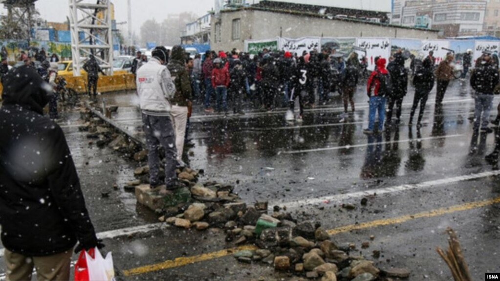 Protesters blocking a road on the second day of protests in Iran. November 16, 2019