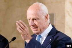 "UN Syria envoy Staffan de Mistura: ""We will never abandon the Syrian people to a destiny of endless violent conflict."""