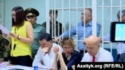 В суде по делу лидера кыргызстанской оппозиционной партии «Ата Мекен» Омурбека Текебаева. Бишкек, 5 июня 2017 года.