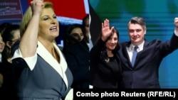 Dy kandidatët për president të Kroacisë, Kolinda Grabar-Kitaroviq dhe Zoran Milanoviq.