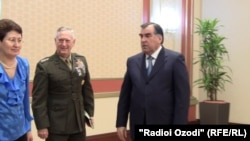 General James Mattis (second from left) meets with Tajik President Emomali Rahmon