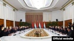 Переговоры Таджикистана и Беларуси в расширенном составе. Душанбе, 15 мая 2018 года