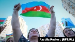 Акция протеста сторонников и членов оппозиционной партии «Мусават» против референдума по предлагаемому властями изменению Конституции. Баку, 18 сентября 2016 года.