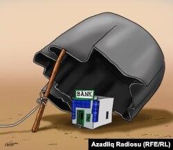 """Karikatura. """"Bank"""". Gündüz Ağayev"""