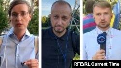 Ірину Ромалійську, Івана Гребенюка (в центрі) та Юрія Баранюка затримали вдень 7 серпня в Мінську