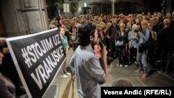 """Sa protesta podrške direktoru i glavnom i odgovornom uredniku novina """"Vranjskih"""" Vukašinu Obradoviću, Beograd, 19. septembar 2017."""