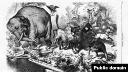 """""""Üçüncü müddət təlaşı"""", Thomas Nast-ın karikaturası, 1874"""