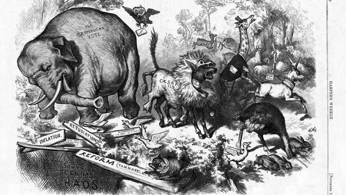 REPUBLICAN ELEPHANT ROOSEVELT LAW MAKER TAMMANY TIGER