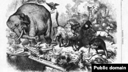 """The Third-Term Panic,"" by Thomas Nast, was originally published in ""Harper's Magazine"" in 1874 and is considered the point when the donkey and elephant came to symbolize the two parties."