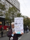 """Serbia -- Group Do not let Belgrade drown protest """"Against state crime"""" in front of the Republic Public Prosecutor's Office in Belgrade, October 16, 2021."""