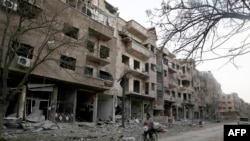 Սիրիայի մայրաքաղաք Դամասկոսի Ջուբար արվարձանի՝ ապստամբների վերահսկողության տակ գտնվող հատվածը, 9-ը մարտի, 2016թ.