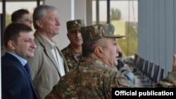 Armenia - CSTO Secretary General Nikolay Bordyuzha (second from left) watches the concluding session of CSTO military exercises at Bagramian shooting range, 3Oct2015.