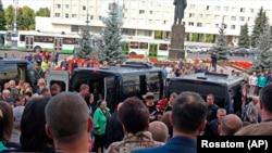 La funeraliile celor cinci ingineri uciși în explozia rachetei, Sarov, 12 august 2019