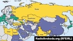 Карта свободы Интернета, составленная Freedom House. Зеленым цветом помечены страны со свободным Интернетом, желтым - страны с частично свободным Интернетом, серым - страны с отсутствием свободы Интернета. 7 октября 2013 года.