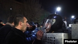 15/01/2015. Armenia, Gyumri. A clash between the protesters and the police took place in Gyumri, there are injured