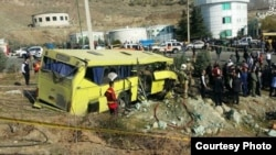 A photo of the university bus after the crash was posted on social media, December 25