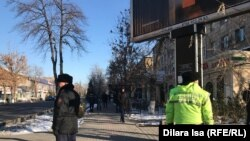 Поліція на місці планованого мітингу у Шимкенті, Казахстан, 16 грудня 2019 року
