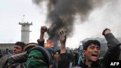 Pamje nga protestat në Bagram (Afganistan)