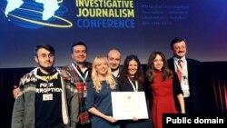 Команда проекту YanukovychLeaks на врученні відзнаки міжнародного конкурсу Global Shining Light Award