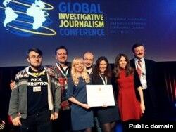 Команда проекта YanukovychLeaks на вручении премии Global Shining Light Award. Олег Хоменок - крайний справа