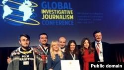 Команда проекта YanukovychLeaks на вручении награды межнародного конкурса Global Shining Light Award