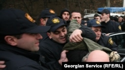 Three veterans were detained by the police on Heroes' Square in Tbilisi on January 3.