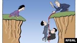 """Karikatura Predraga Koraksića Coraxa o """"crvenim linijama"""" u dijalogu sa Kosovom"""