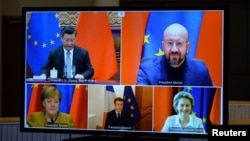 European Commission President Ursula von der Leyen, European Council President Charles Michel, German Chancellor Angela Merkel, French President Emmanuel Macron, and Chinese President Xi Jinping during a video conference in Brussels in December.
