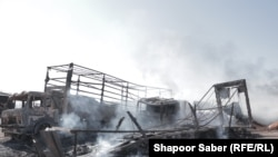 موترهای که در اثر آتشسوزی در گمرک اسلام قلعه طعمه حریق شدند