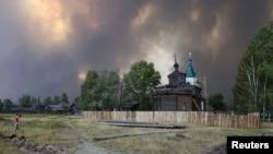 Дым от лесных пожаров в Нижегородской области.