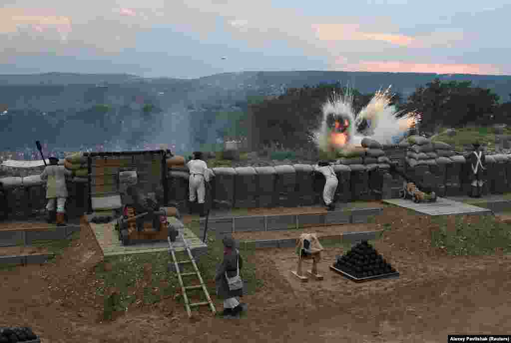 The September 5 battle re-creation was part of the opening of a military theme park near Sevastopol, Crimea, called the Park of Living History, Fedyukhiny Heights. The hilltop site is reportedly named after a Russian commander who was stationed there during the Crimean War.