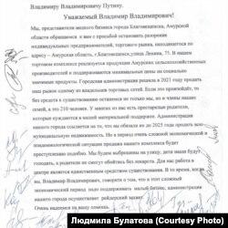 Обращение к Путину предпринимателей Благовещенска