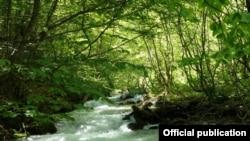 """Изворска Река кај предвидениот зафат за ХЕ Рибничка Река. Извор: """"Фронт 21/42."""""""