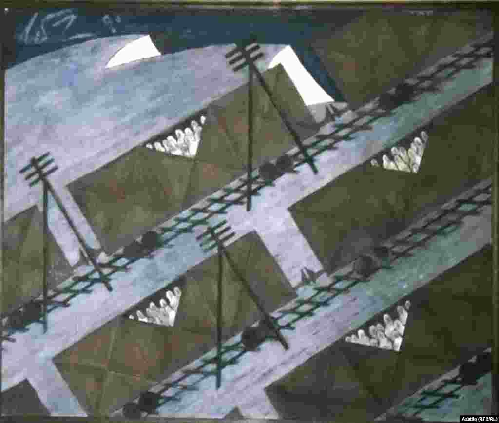 Мамут Чурлуның кырымтатарларның сөрелүенә багышланган рәсеме, 1990.