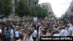 Sa protesta naučnih radnika Srbije u Beogradu, jul 2013.