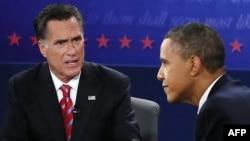 Митт Ромни и Барак Обама во время дебатов во Флориде