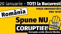 Afișul manifestației împotriva corupției anunțată pentru 20 ianuarie 2018 la București.