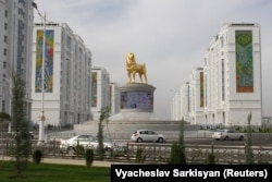 The Alabay dog statue is the latest of many imposing monuments that have been erected in the Turkmen capital.