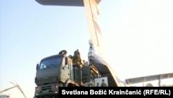 Выгрузка из российского самолёта ракетной системы С-400. Батайница, 25 октября 2019
