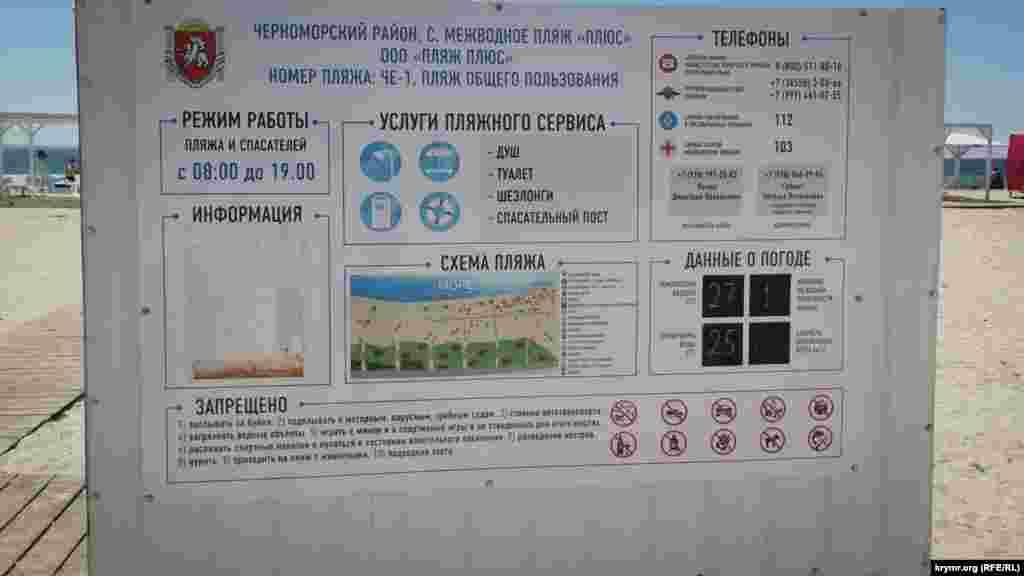 Інформаційний стенд на пляжі «Плюс»