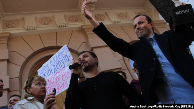 Sobolev was part of a group of journalists and activists protesting against the libel law in Kyiv in October, 2012.