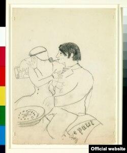 Olga și Pablo Picasso la Roma (Desen de Jean Cocteau; Fundación Almine y Bernard Ruiz-Picasso para el Arte Copyright: © Succession Picasso, 2017 Photo credit: © FABA Photo: Marc Domage)