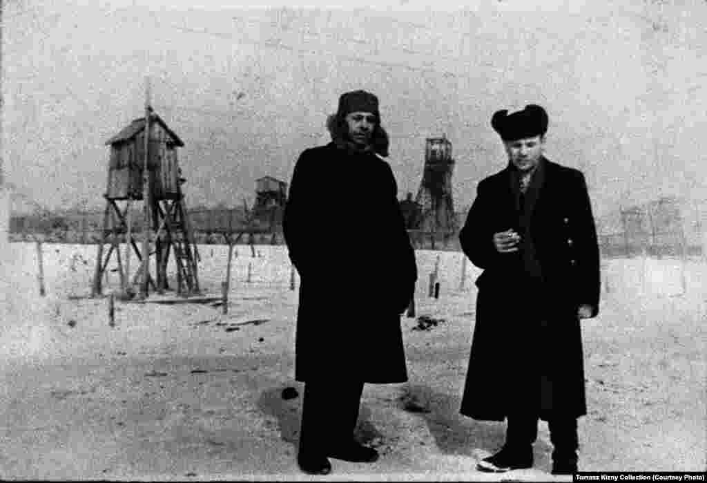 An undated photograph shows two Vorkuta prisoners upon their release. The prisoner on the right was a member of the Polish Home Army, partisans who fought against the Germans during World War II. Many Home Army fighters ended up in the Gulag system after the war.